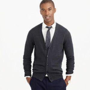 J. Crew cotton cashmere cardigan grey size small